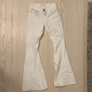 Free People Pants - free people white flare jeans